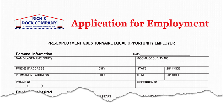 Rich's Dock Company Empolyment Application
