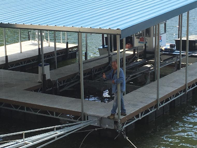 Don Smith: New residential dock. 31 mm, 2 well dock, with a locker/ bar and 36' swim dock.