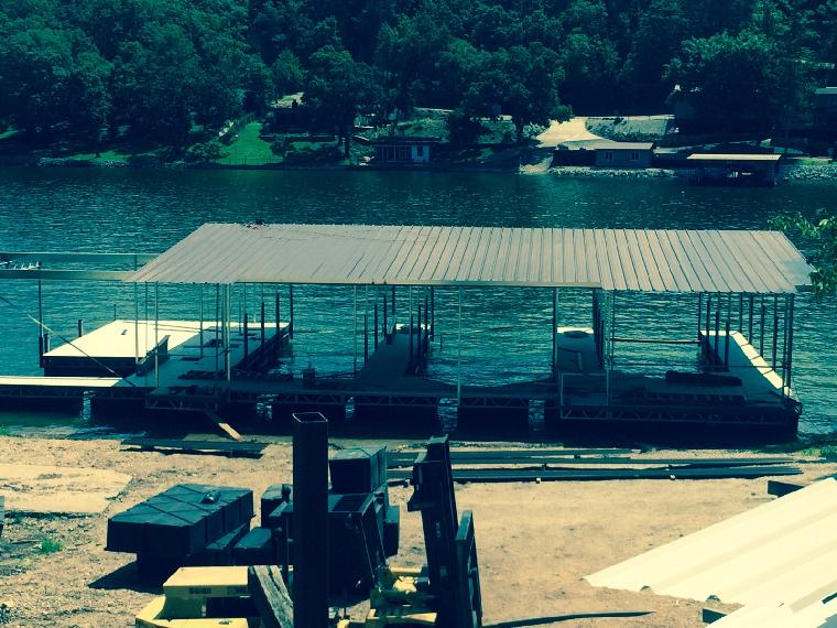 Kim's dock getting roofed