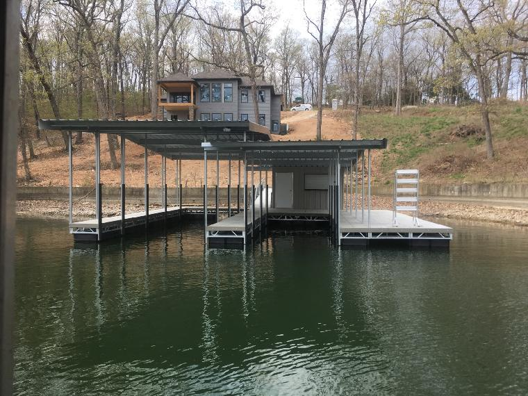 Jason's new dock has been delivered. Includes two well dock slips with locker/bar on the 10mm Osage.