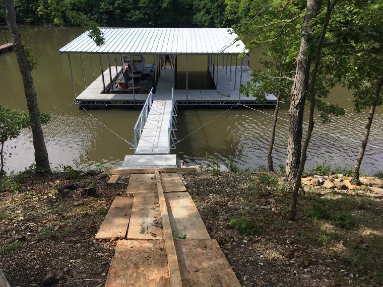 Russell's new dock, on the 60 mile marker of the Osage.