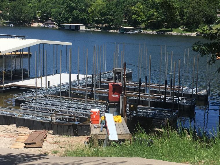 New St. Moritz multi well dock is currently under construction.