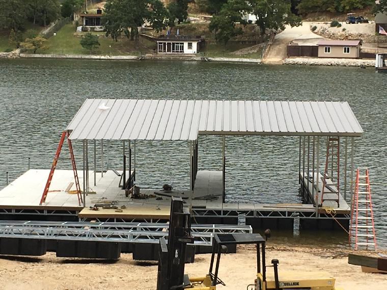 Jims dock getting ready to add the locker and bar. Completed this will be a two well with locker and bar.