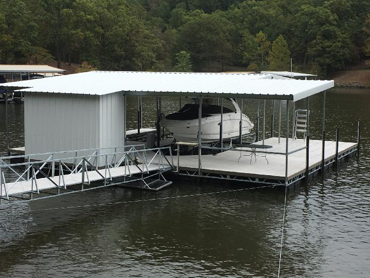 Ralph's dock, is a 2 well dock with a dock locker located on the 40mm osage.