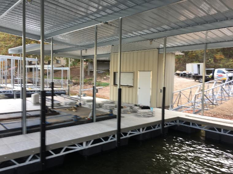 Don's dock ready to ship. 2 well dock with double PWC slips and a Locker with Bar.