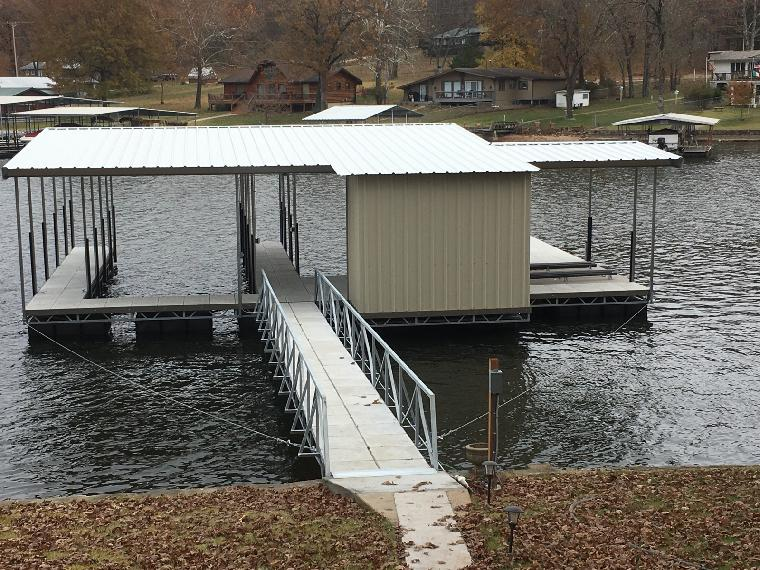 Don and Sue's new dock. Two well dock with PWC slips and a locker with bar.